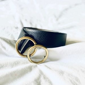 Black and Gold Double Loop Leather Belt